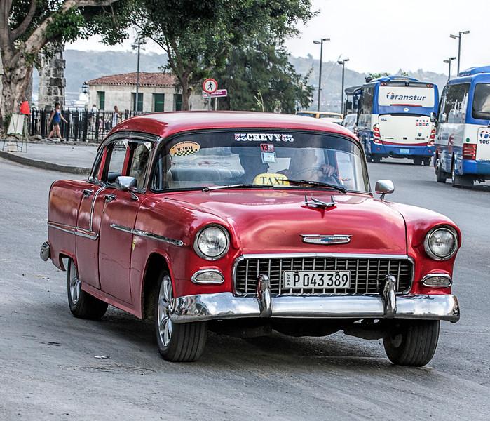 Old Red American Car in Havana
