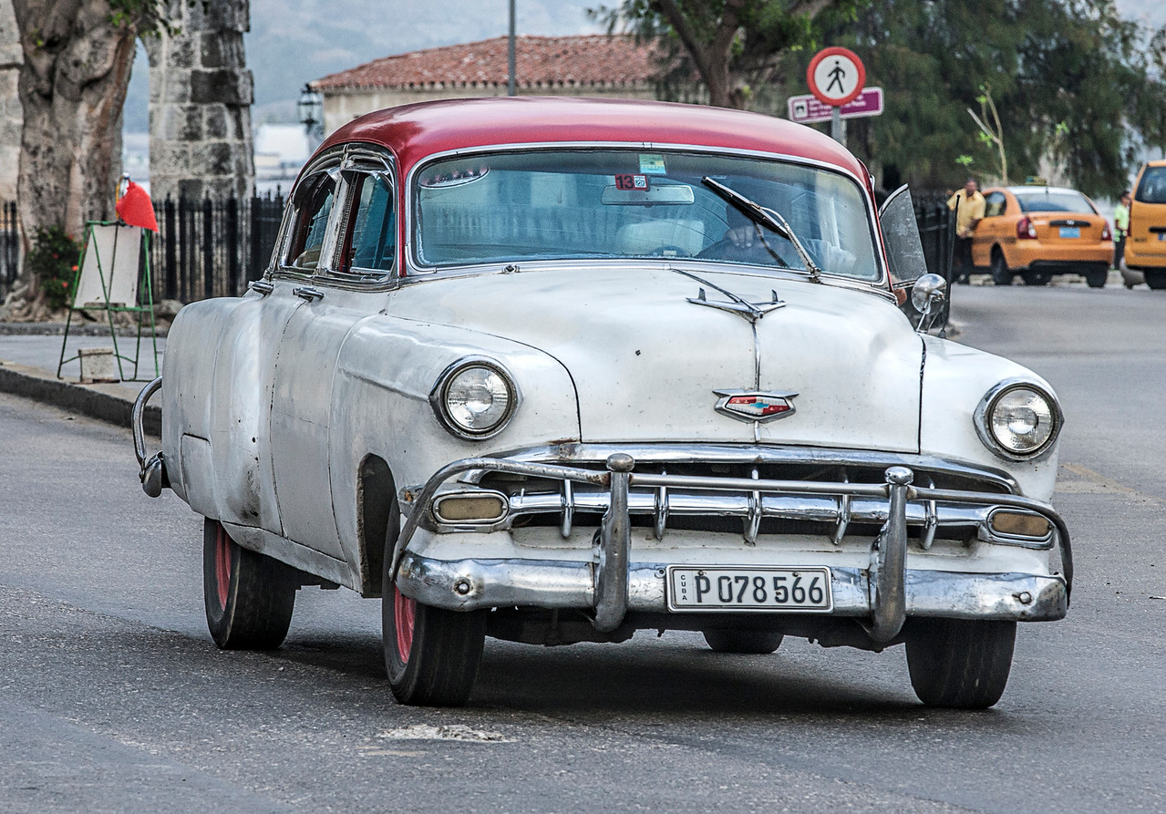 Old White American Car in Havana Cuba