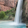 Havasu Falls lands in a turquoise pool.