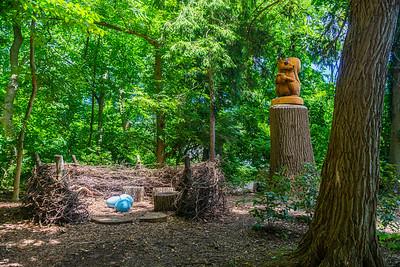 Wooden Squirrel and Bird's Nest