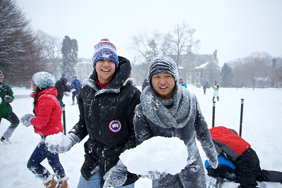 Students in a snowball fight on Founders Green.