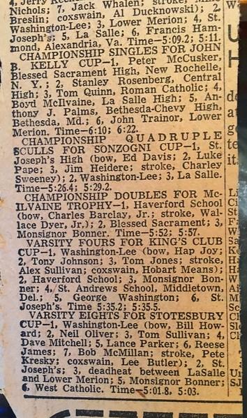 Stotesbury Results, May 18, 1957