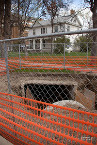 Havre Daily News/Floyd Brandt  the unfinished work    Concret drainage pipe waits to put into the ground Tuesday.