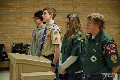 Havre Daily News/Floyd Brandt  The boy Scouts were honored with a proclamation for their community work by the Havre City Council Monday (Left) Anthony Borowiecki, John Klein, Abbigayl Ridgeway and Kougar Lunier.