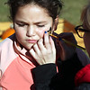 Havre Daily News/Floyd Brandt<br /> <br /> Face painting at the Pumpkin Patch for 10 year old Gabriella Walker who is having a design painted on her face by Jessica Maherus at Saint Jude's School Saturday Oct 21, 2017 Havre, Montana