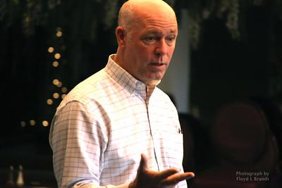 Havre Daily News/Floyd Brandt  Greg Gianforte speaking at the Pachyderm Club meeting at the Duck Inn Wednesday Oct 18, 2017 Havre, Montana