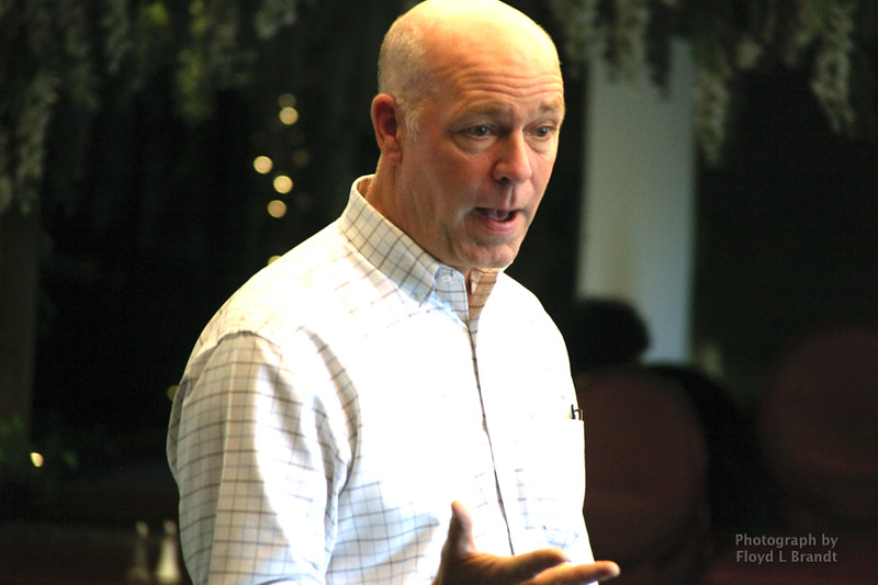 Havre Daily News/Floyd Brandt<br /> <br /> Greg Gianforte speaking at the Pachyderm Club meeting at the Duck Inn Wednesday Oct 18, 2017 Havre, Montana