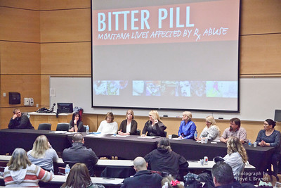 Havre Daily News/Floyd Brandt  Haver Bitter Pill Discussion Panel held at Montana University Northern Thursday night January 26, 2017, The discussion centered on what was being done to help combat prescription drug addiction in the Havre and surrounding communities.