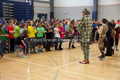"Havre Daily News/Floyd Brandt  Montana Actors Theatre visit to Havre Schools Friday brings laughter to students at Sunnyside School. MAT, promoting their newest play ""The Wind In the Willows"" students got a taste of the upcoming play ending with a dance that all the students took part in."
