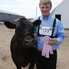 Havre Daily News / Floyd Brandt<br /> <br /> Cody Arnold 4H / FFA Senior Beef Showing Blain County Fair Saturday, with Tank
