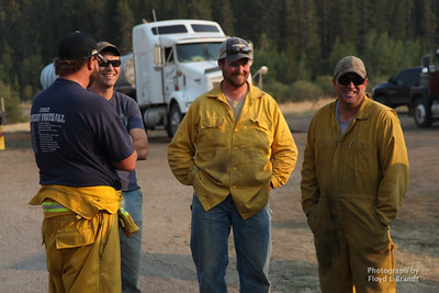Havre Daily News/Floyd Brandt  Adam Olson (left) from Carter, Glenn Reed from Geraldine, Joe Robertson from Big Sandy and Mike Pimperton are all news to the fire and are awaiting their job assignments Tuesday.