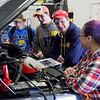 Havre Daily News/Floyd BrandtMontana State University Northern is hosted the 9th Annual TekNoXpo (Technology-Knowledge-Exposition) Thursday. High school students from around Montana were exposed to programs offered at MSU-N, Technical Sciences Agriculture, Automotive Technology, Construction Careers Technology, Diesel Technology and Nursing. Students had hands on operation to experience what each field would be like.(right) Student instructor Samantha Pittman, Chase Hooper, Wendell Stephens, Austin Broneo from Fort Benton Geraldine High School in the auto tech class.