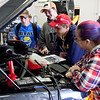 Havre Daily News/Floyd BrandtMontana State University Northern is hosted the 9th Annual TekNoXpo (Technology-Knowledge-Exposition) Thursday. High school students from around Montana were exposed to programs offered at MSU-N, Technical Sciences Agriculture, Automotive Technology, Construction Careers Technology, Diesel Technology and Nursing. Students had hands on operation to experience what each field would be like.(right) Student instructor Samantha Pittman, Chase Hooper, Wendell Stephens, Austin Broneo from Fort Benton in the auto tech class.