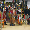 Havre Daily News/Floyd Brandt   <br /> <br /> (Left) Milton Madson and Ronald Windy Boy lead the Grand Entry carrying Eagle Staffs Friday  April 01, 2017 Havre, Montana
