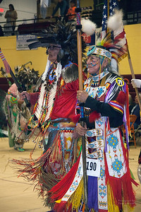 Havre Daily News/Floyd Brandt     (Left) Milton Madson and Ronald Windy Boy lead the Grand Entry carrying Eagle Staffs  April 01, 2017 Havre, Montana