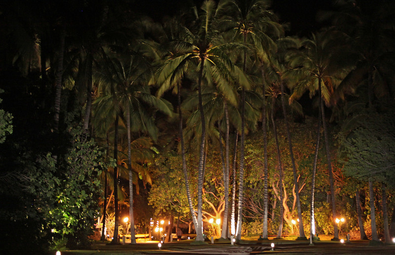 Approach to Kona Village at night.