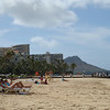 Sitting on the beach looking at Diamond Head. Hey, great idea, let's walk there then hike up... Sure didn't look 4 miles away...before the mile long hike up to the top...