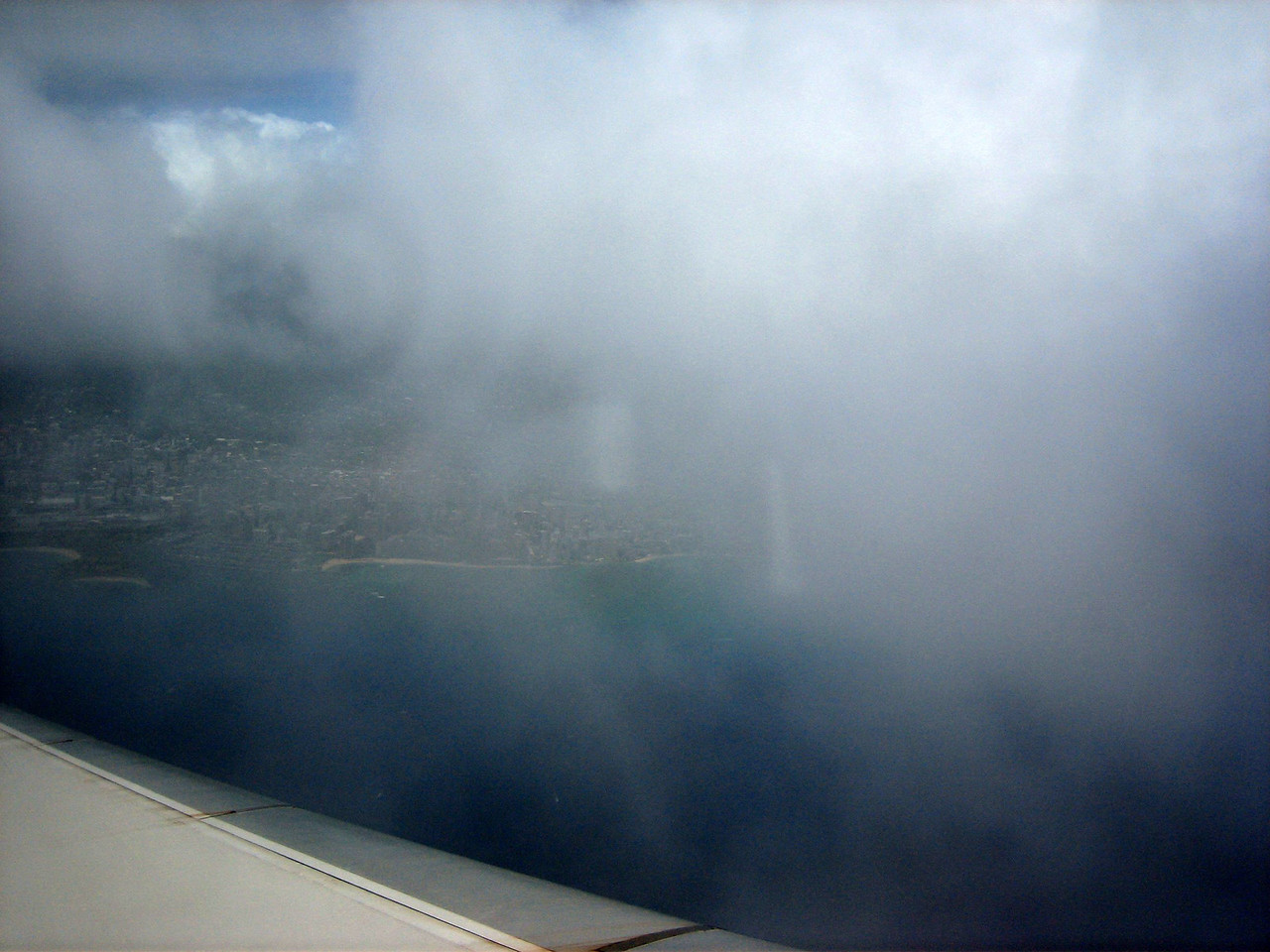 Entering the clouds above Honolulu.