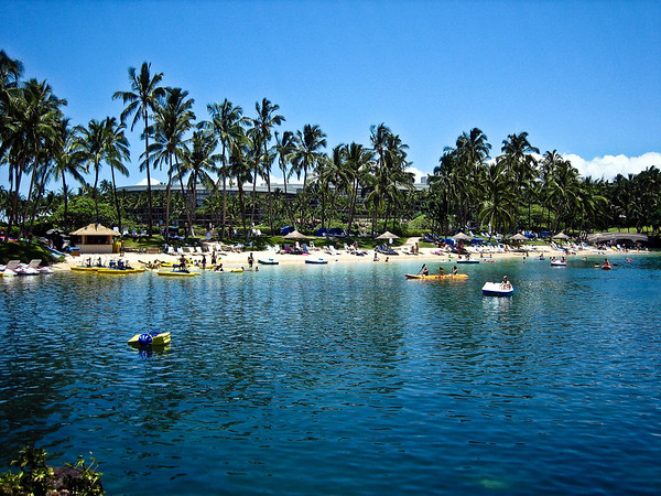 The man-made lagoon at the Hilton Waikoloa Village (the real ocean is just on the other side of those buildings).