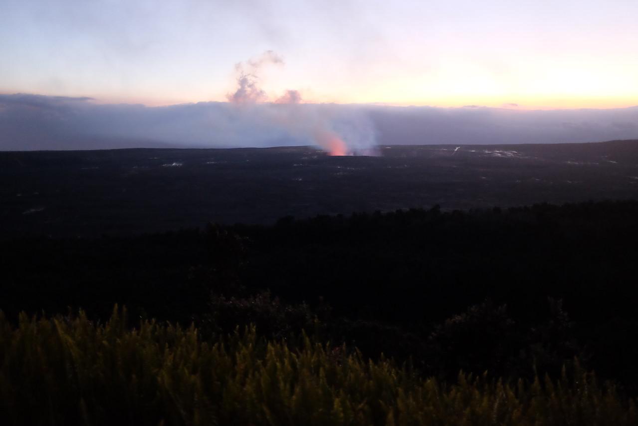 Glowing crater, Kilauea Caldera, Hawaii Volcanoes National Park