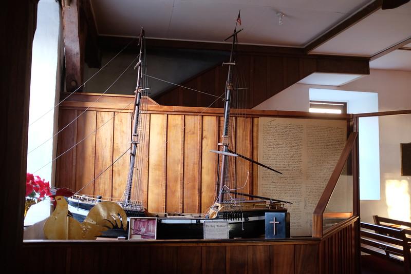 "Model of the brig ""Thaddeus"" inside Mokuaikaua Church"
