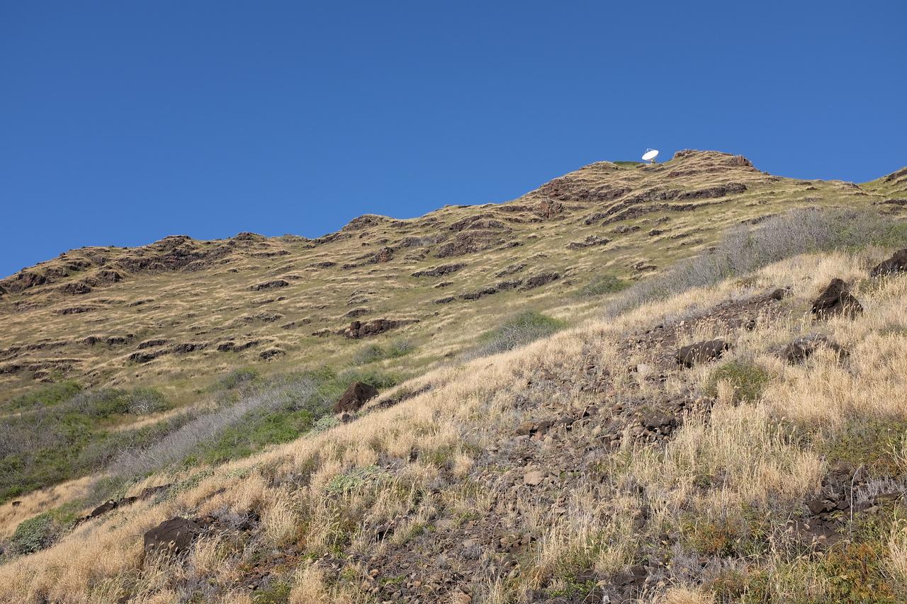 Cliffs and satellite dish, Ka'ena Point