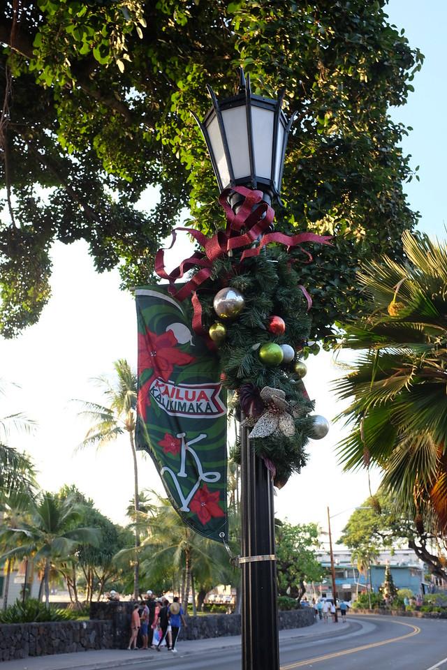 Christmas decorations, Ali'i Drive, Kailua-Kona