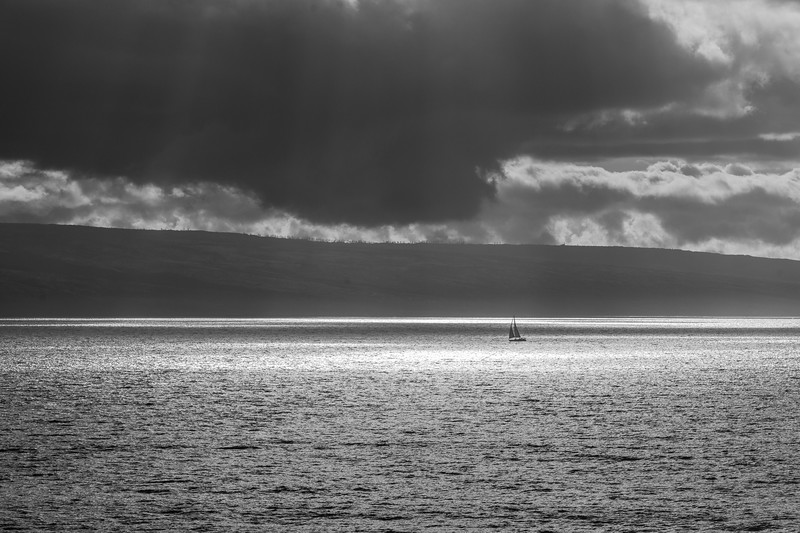 """Alone on the Pacific """"Blue"""" in B and W"""