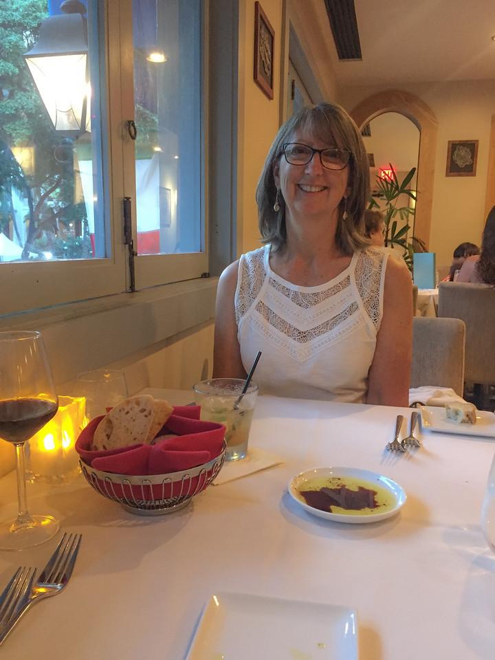 Hawaii 2017; Goodbye Hawaii dinner at the Fresca Italian Restaurant, Hilton Hawaiian Village. Oahu: Waikiki and Honolulu