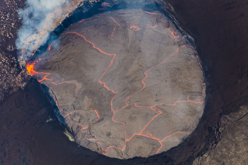 Helicopter's Eye View of Active Kilauea Volcano