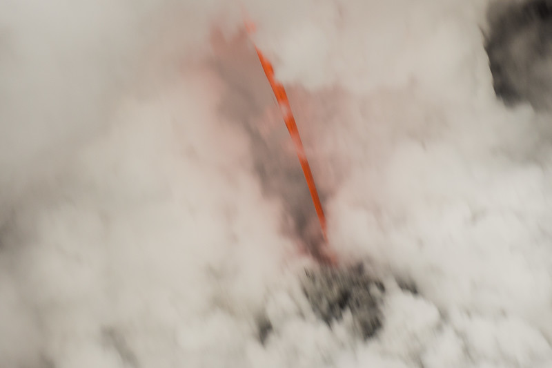 Closer View of Lava Flow Into the Sea