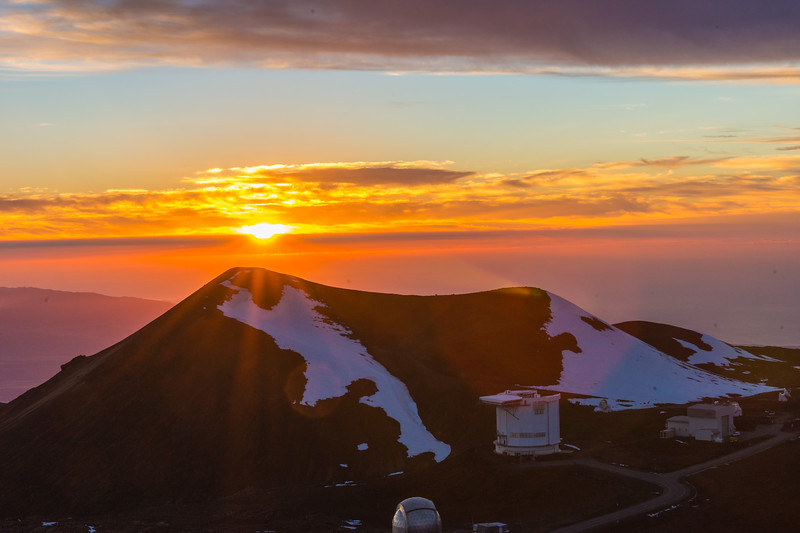 Snow Capped Mauna Kea (14,000 feet ) at Sunset