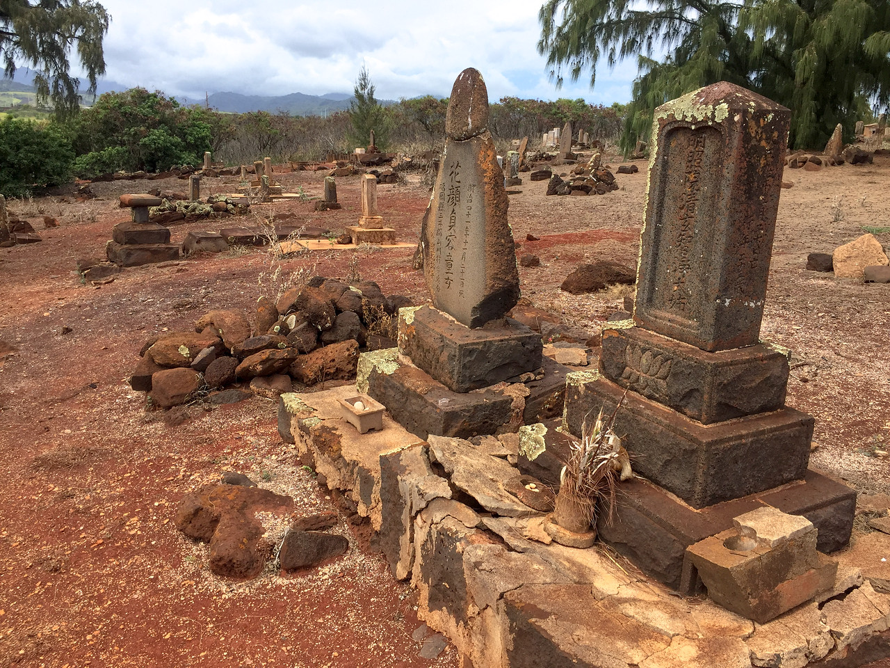 Hawaii 2017; Kauai. Japanese and Chinese section of the 100+ year old McBryde Plantation Cemetery next to Glass Beach in Port Allen