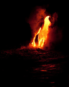Kilauea Volcano lava flowing in the the ocean