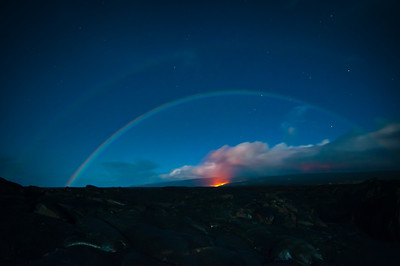 Lunar Rainbow over a lava flow from the Kilauea Volcano