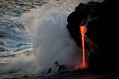 Lava pouring into the Ocean