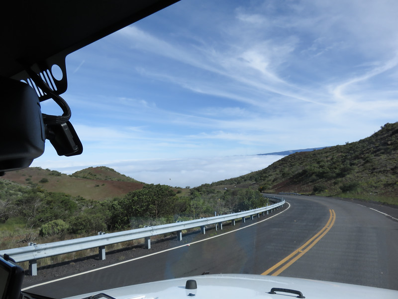 On the road by the Mauna Kea visitor center above the clouds.