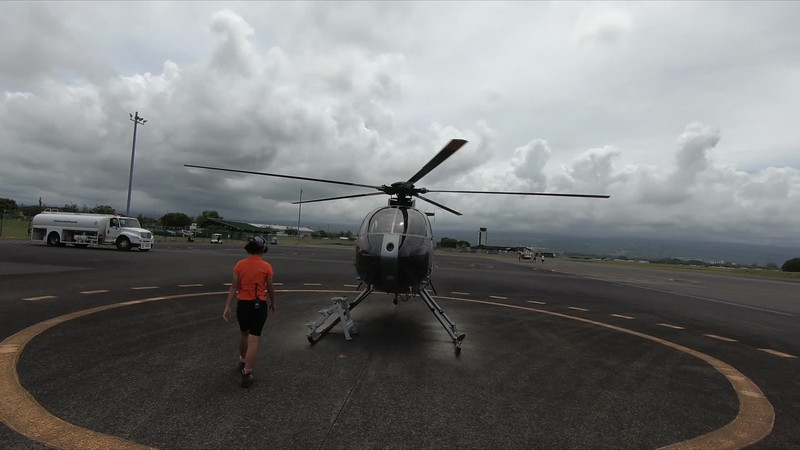 Helicopter ride over the latest volcano activity and water falls.