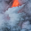 Lava entering sea as seen from boat, East vent of Kilauea, Big Island