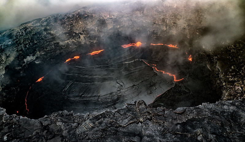 Kilauea crater as seen from helicopter, Big Island