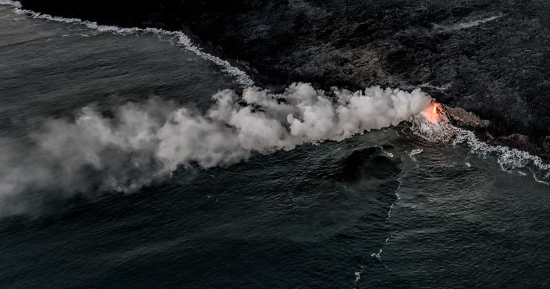 East vent of Kilauea as seen from helicopter, Big Island
