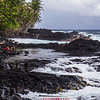 Black lava beach on Hawaii Island