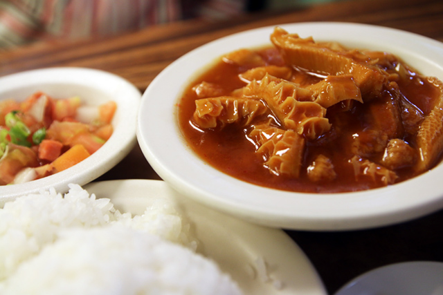 tripe stew L Hawaiian food at Peoples Cafe, Honolulu, Hawaii