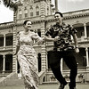 Michael Ke Anuenue Goodrich and Kristen Kelani Tibourtine enjoy a lighter moment at the Palace. They co-host the TV show, Honolulu Needs.