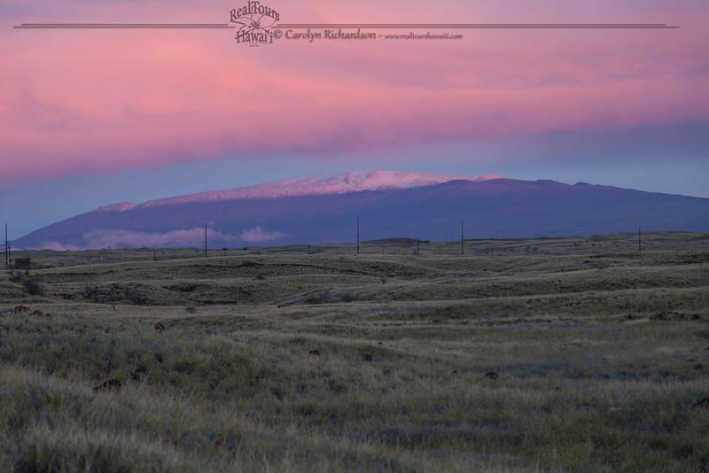 Mauna Kea Snowy Sunset from Kawaihae