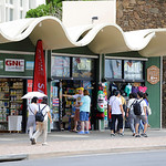 Image of tourist shopping along Kalakaua Avenue Waikiki Hawaii