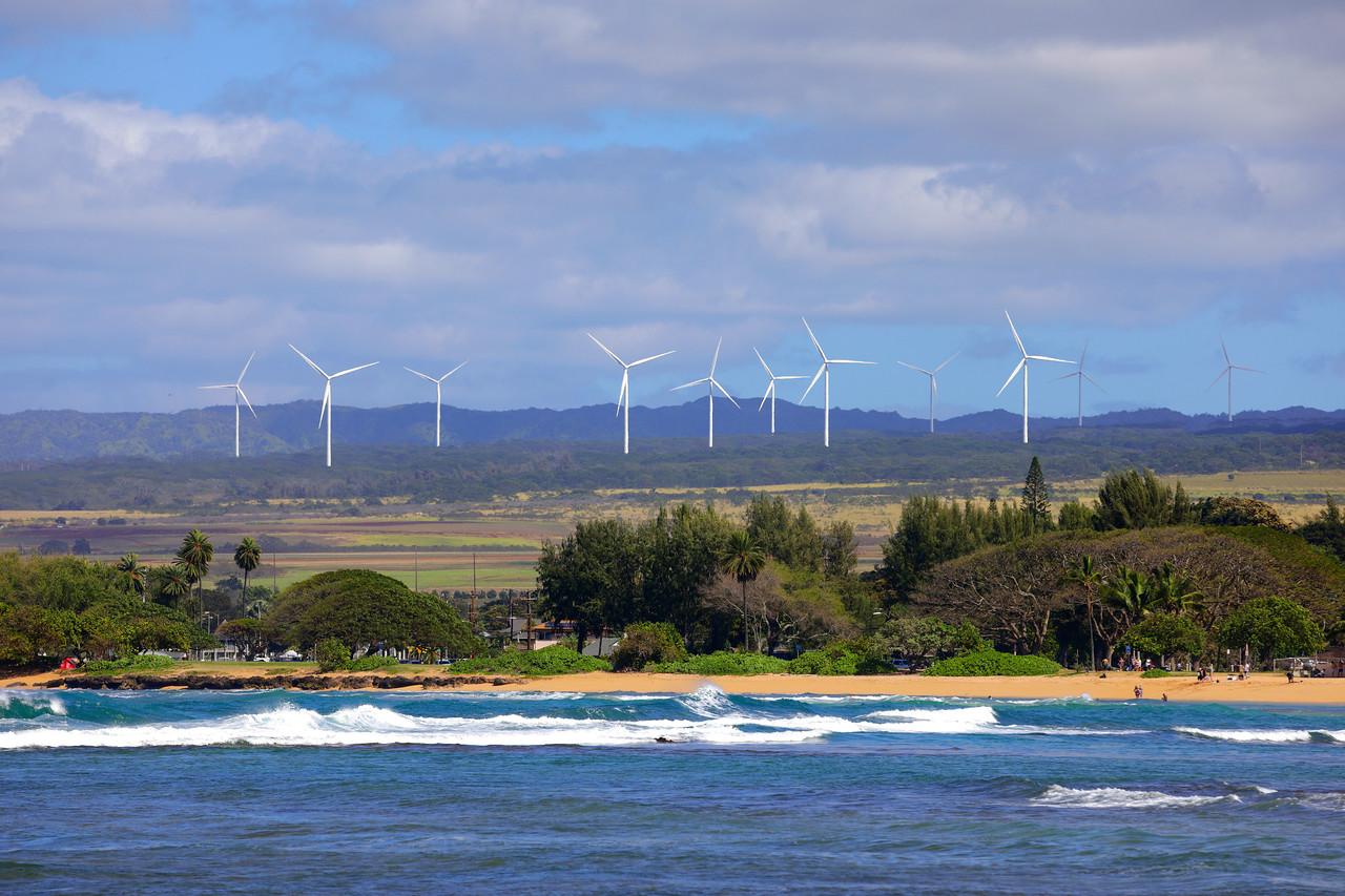 Wind farm in Oahu Hawaii