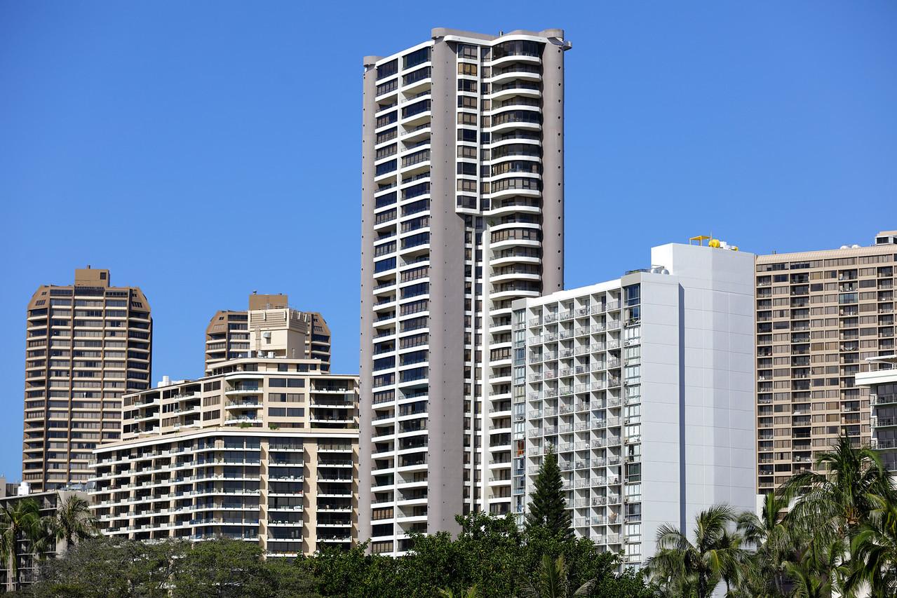 Highrise condominiums in Waikiki Hawaii