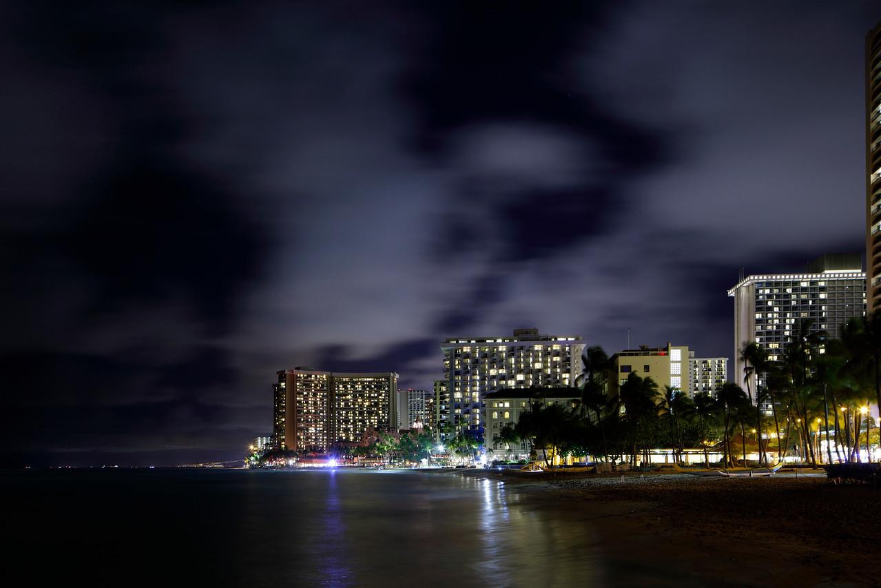 Night image Waikiki Beach Hawaii