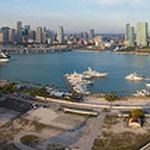 Aerial panoramic photo of Watson Island and Downtown Miami